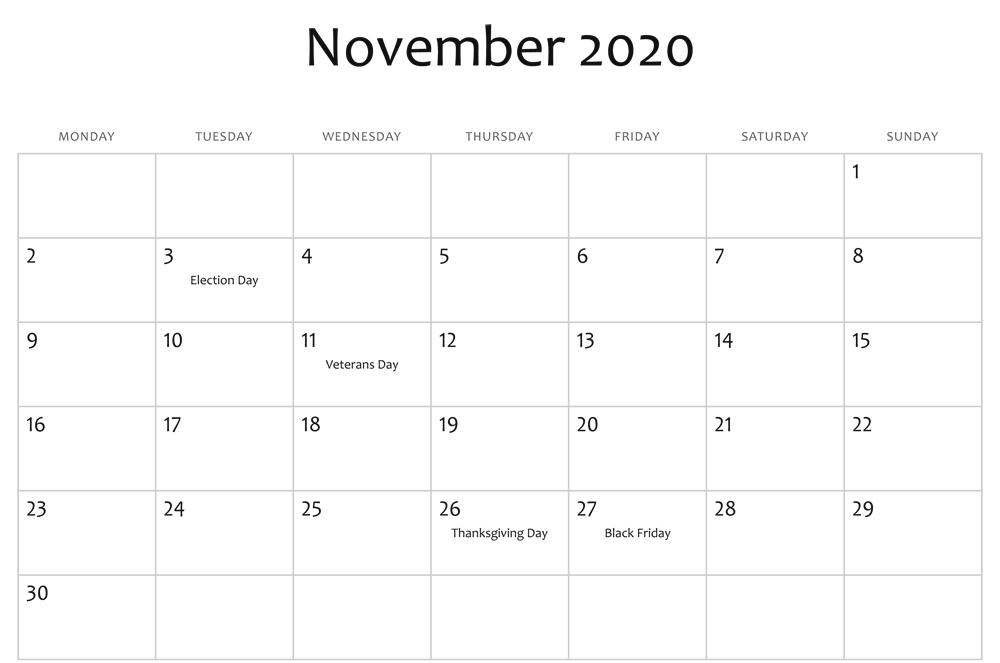 November 2020 Holidays Calendar Template