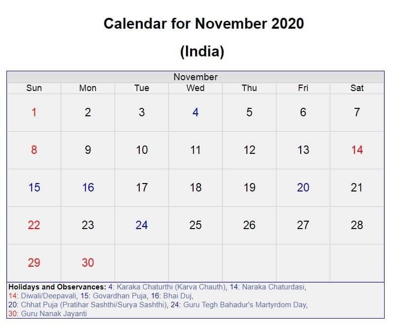 November 2020 India Holidays Calendar