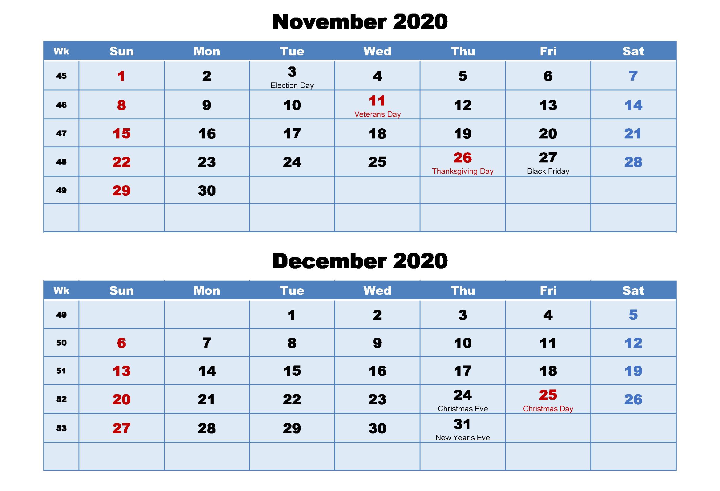 November December 2020 Holidays Calendar