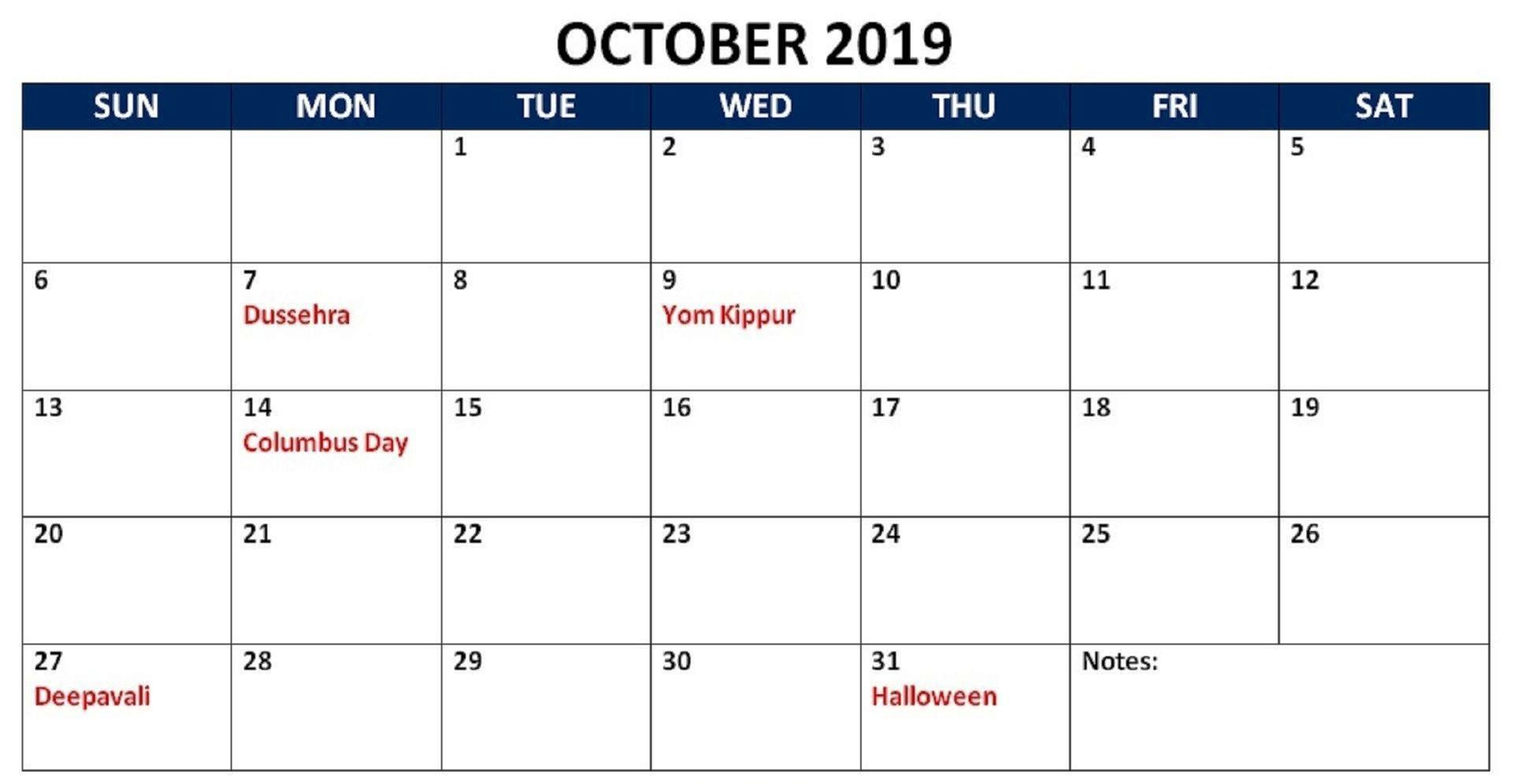 October 2019 Calendar Holidays