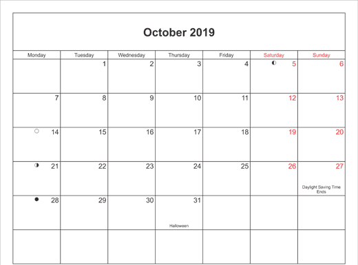 October 2019 Calendar Printable with Bank Holidays