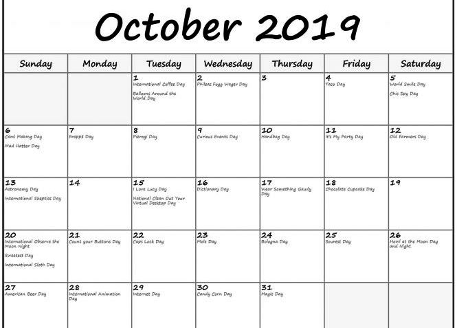 October 2019 Calendar With Holidays Canada