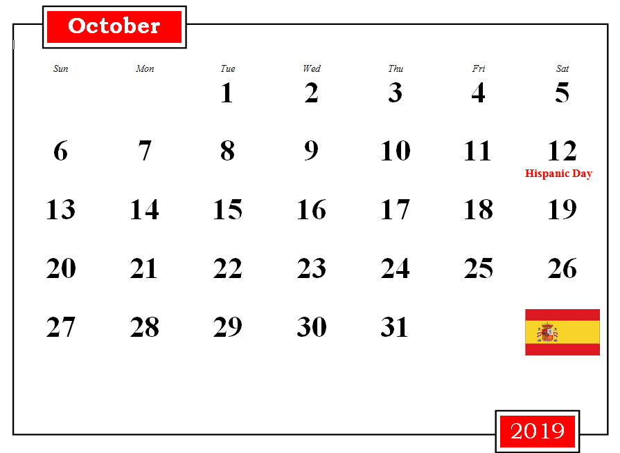 October 2019 Calendar With Holidays Spain