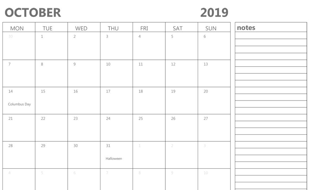October 2019 Calendar With Holidays UK
