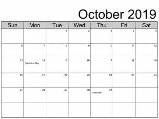 October 2019 Calendar With Holidays US
