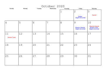 October 2020 Calendar Holidays India