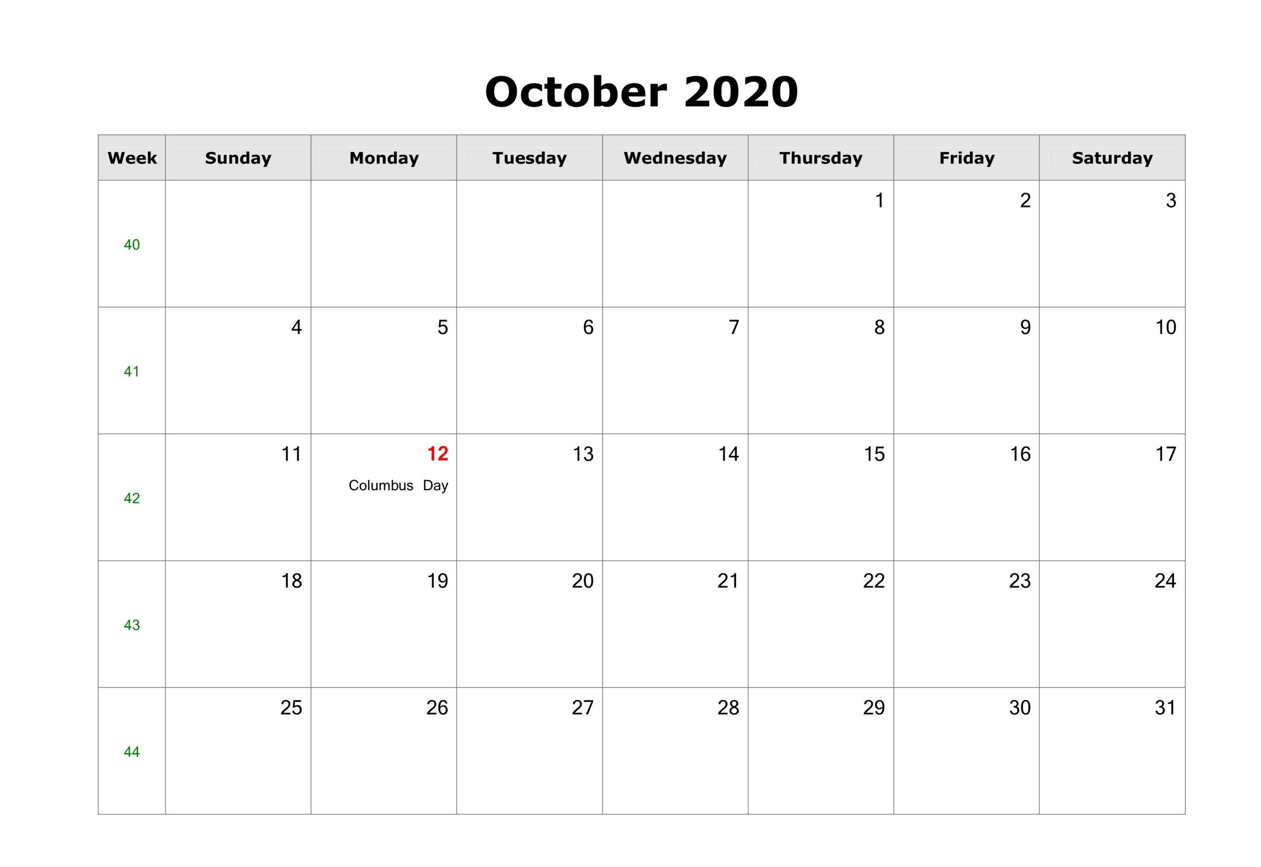 October 2020 Calendar Holidays Templates