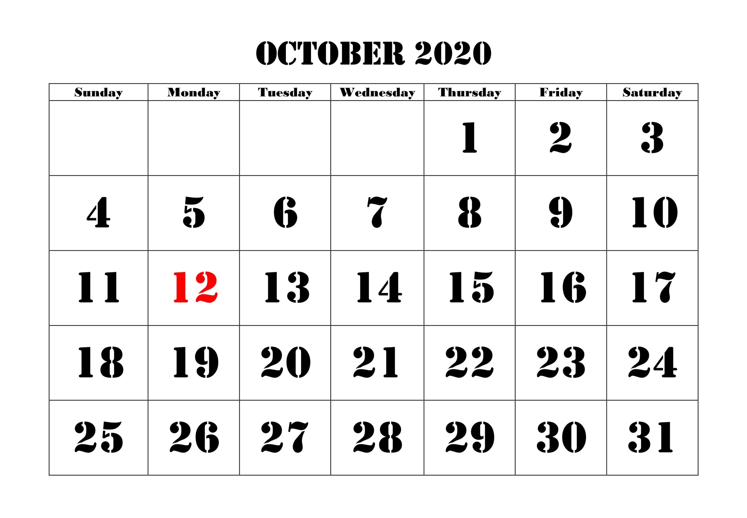 October 2020 Calendar Holidays UK