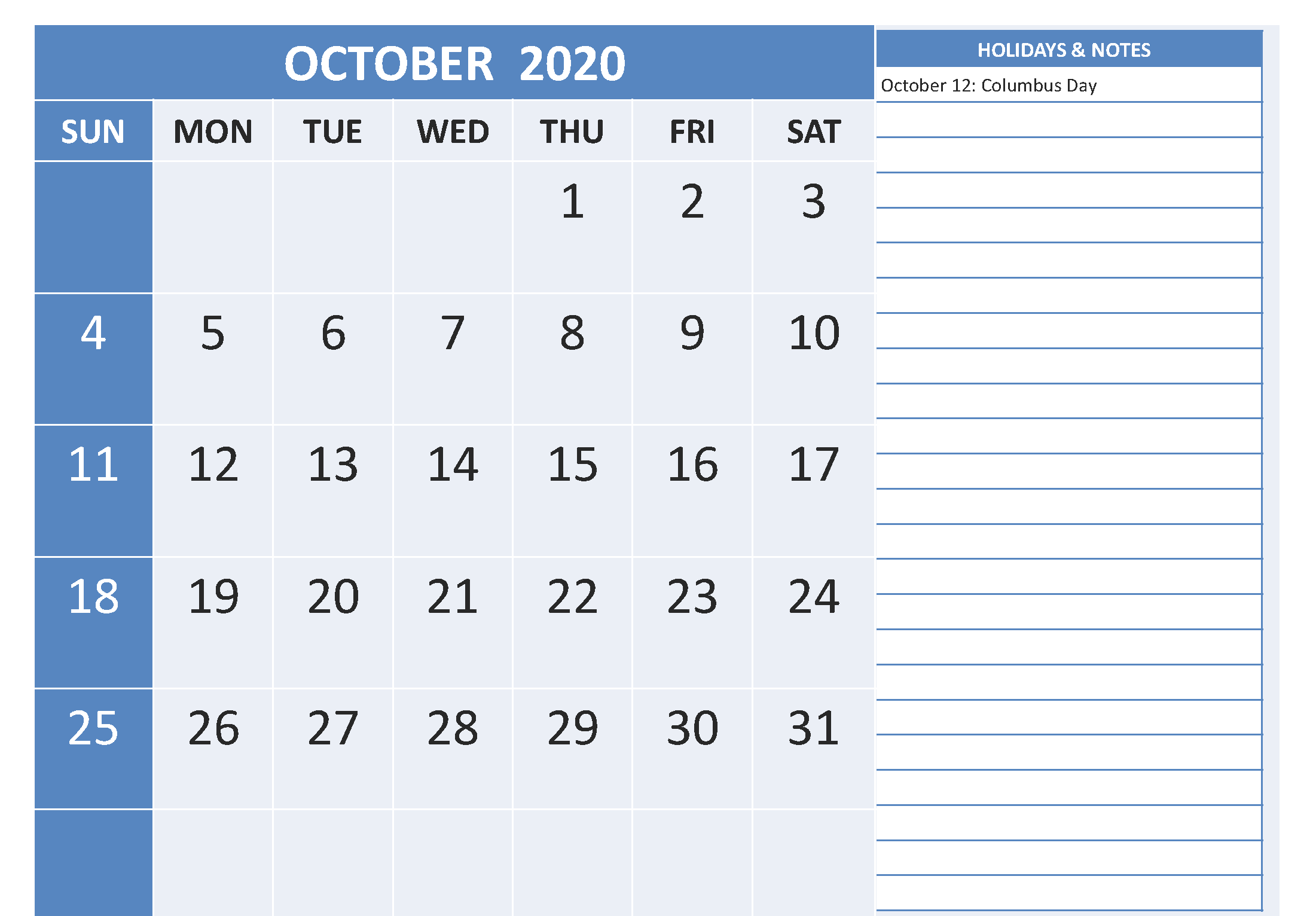 October 2020 Calendar Holidays with Notes