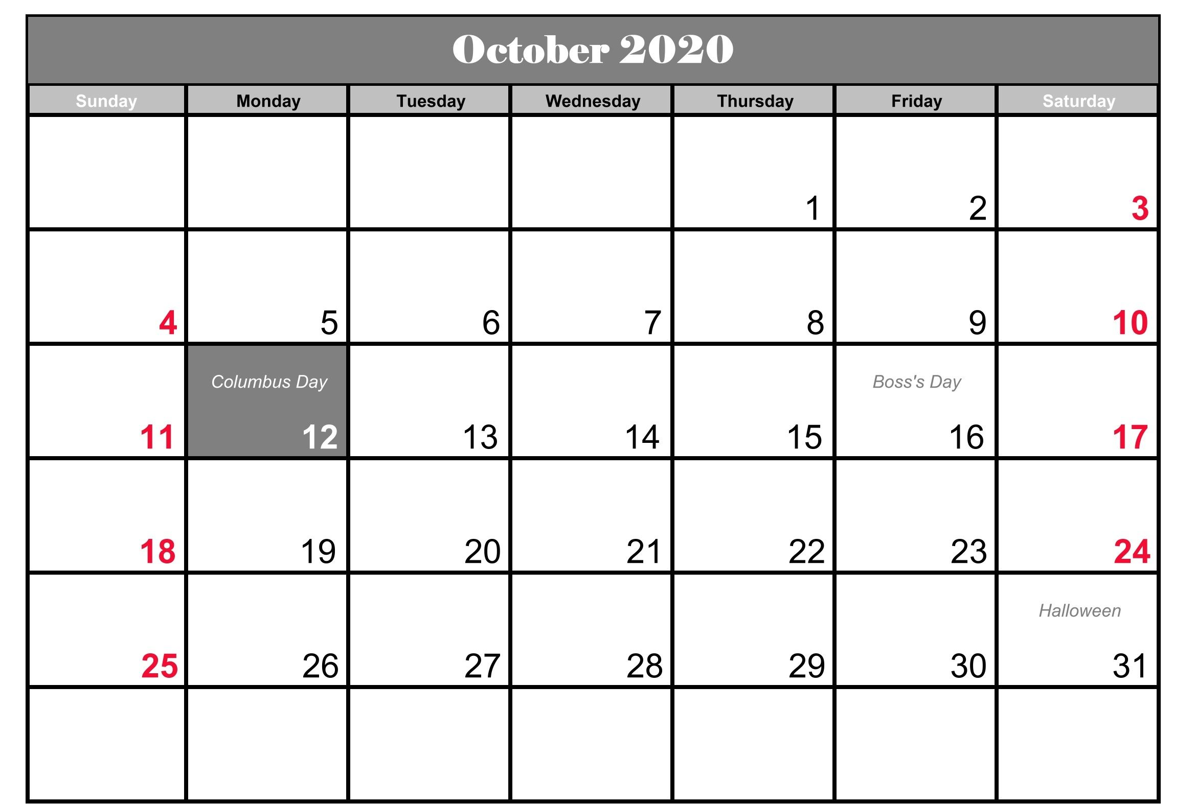 October 2020 Calendar Holidays