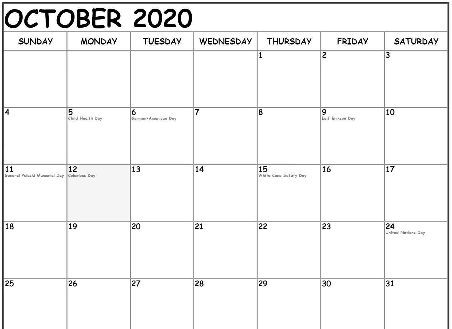 October 2020 Calendar US Holidays
