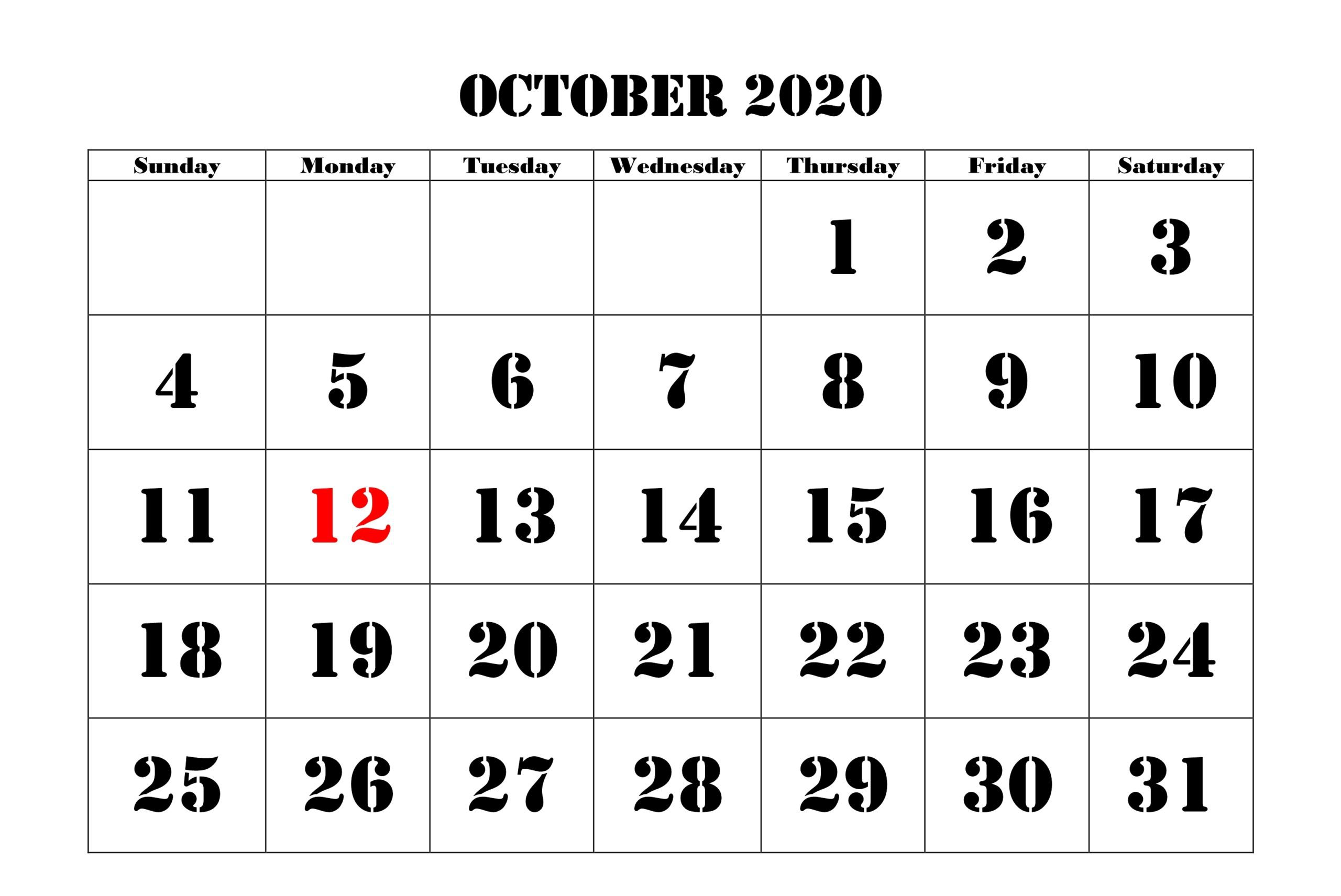 October Calendar 2020 Holidays