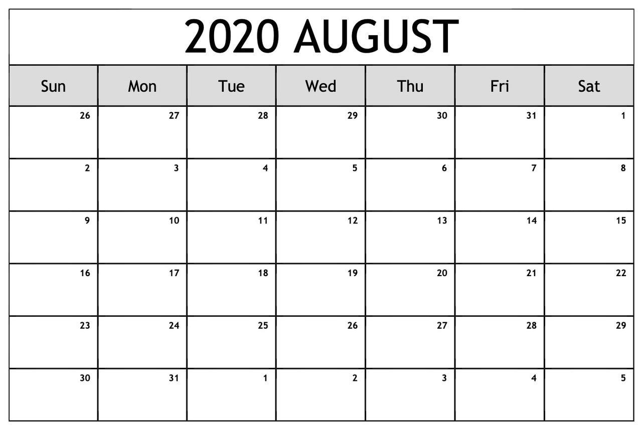 Printable August 2020 Calendar Template