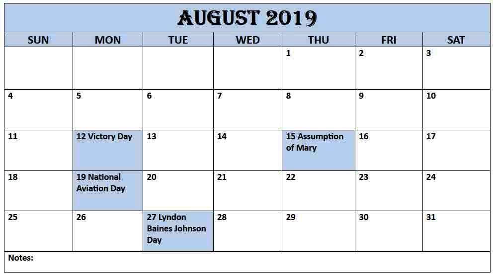 Printable August Holidays 2019 UK