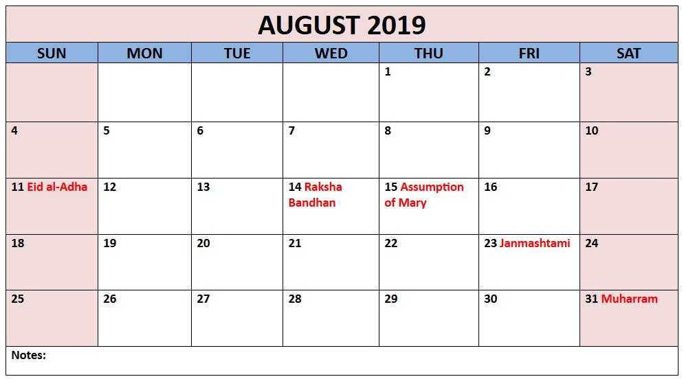Printable August Holidays 2019