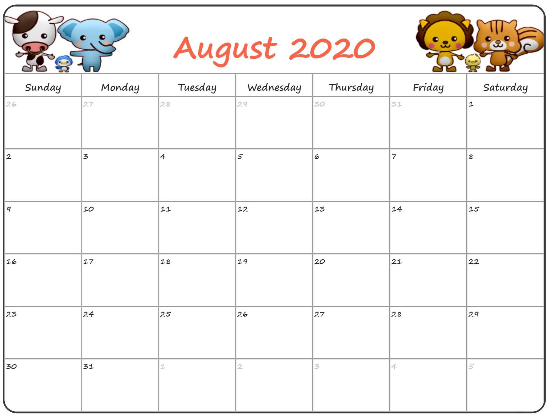Printable August Holidays 2020 Calendar
