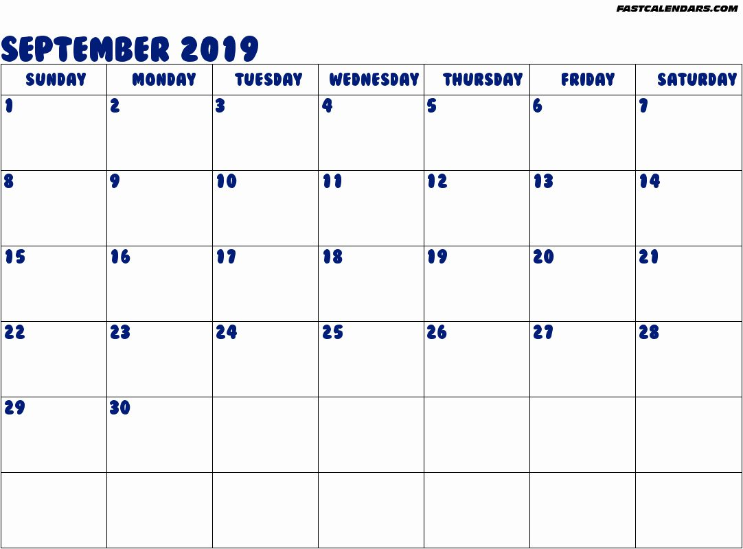 Fillable Calendar For September
