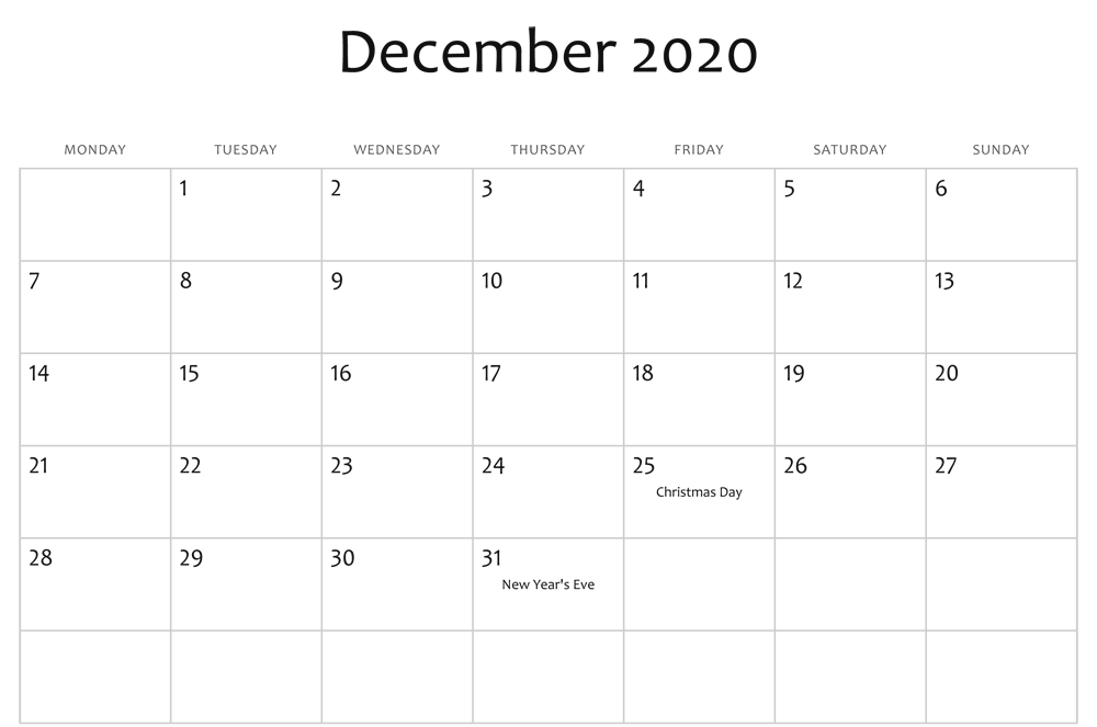 Printable December 2020 Holidays Calendar Template