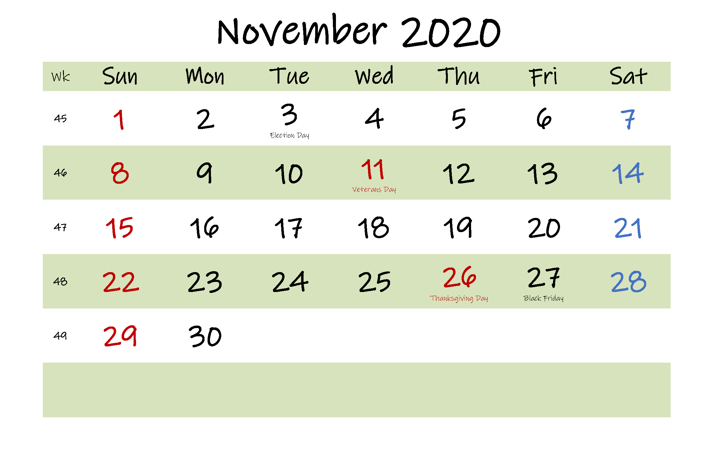 Printable Nov 2020 Holidays Calendar