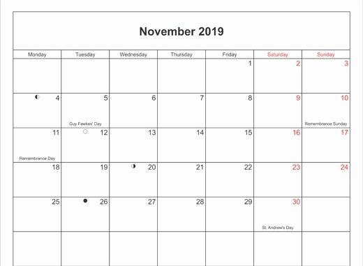 photo relating to Printable Nov. Calendar titled Incredible Printable November Holiday seasons 2019 Calendar Template