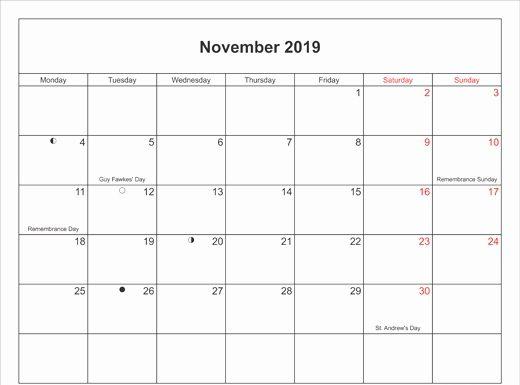Printable November 2019 Calendar With Holidays