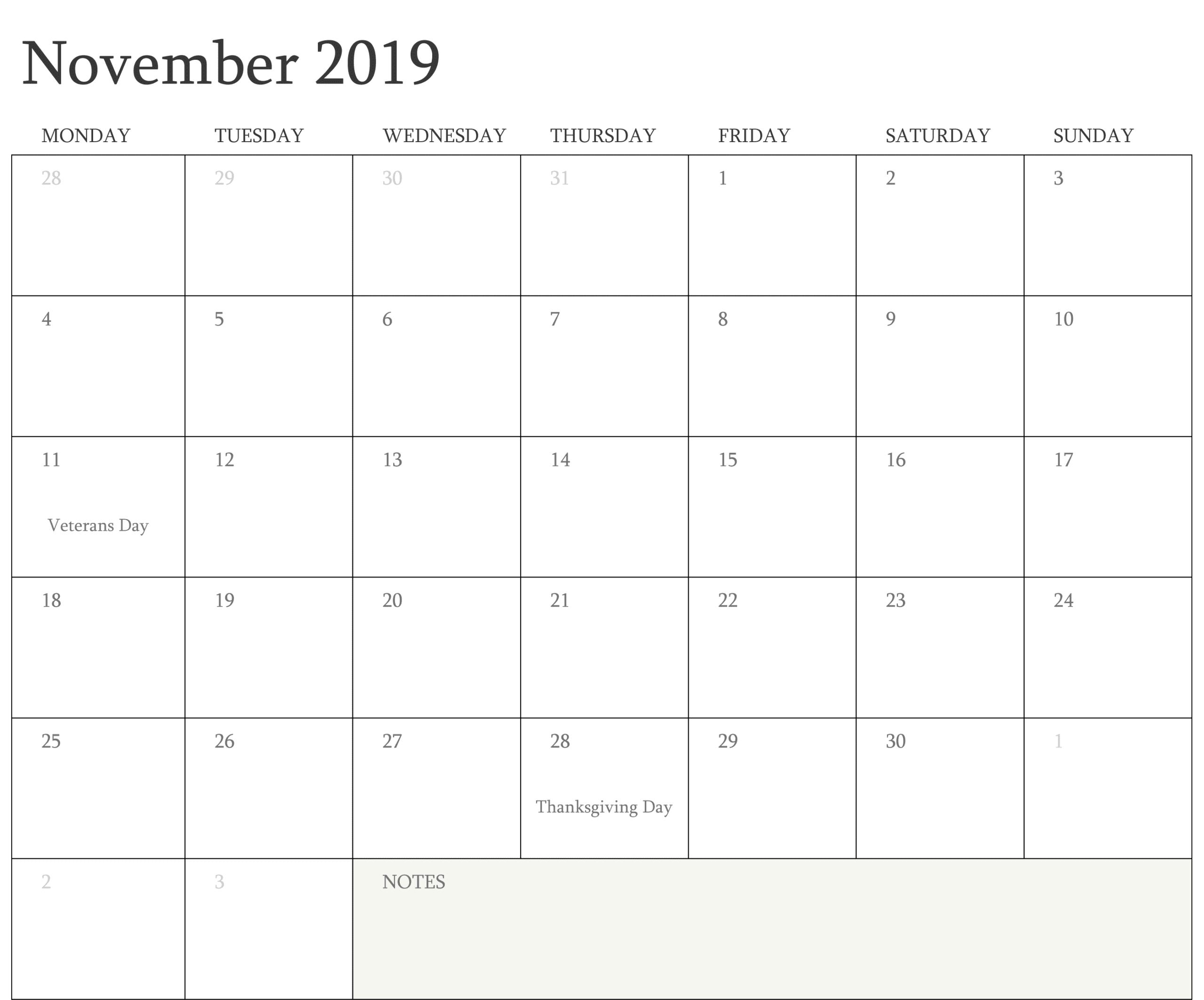 Printable November Calendar Holidays 2019