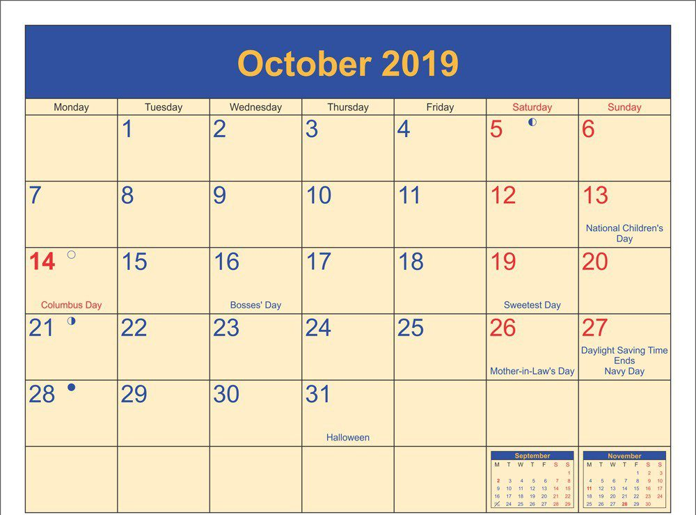 Printable October Calendar 2019 Holidays