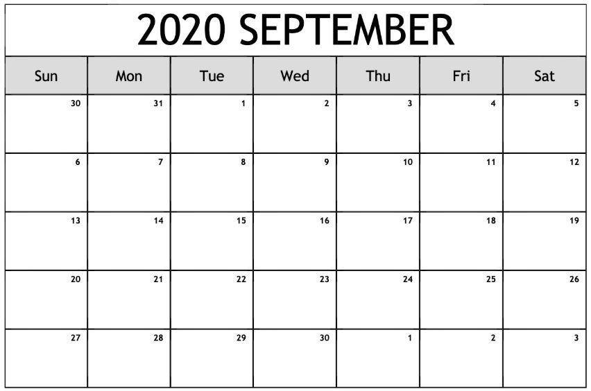 September 2020 Calendar Blank Template
