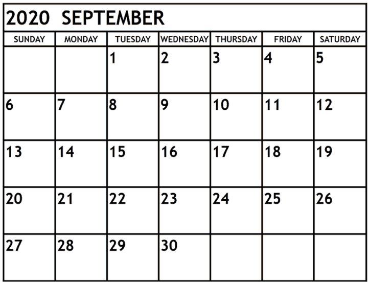 September 2020 Calendar Fillable Template
