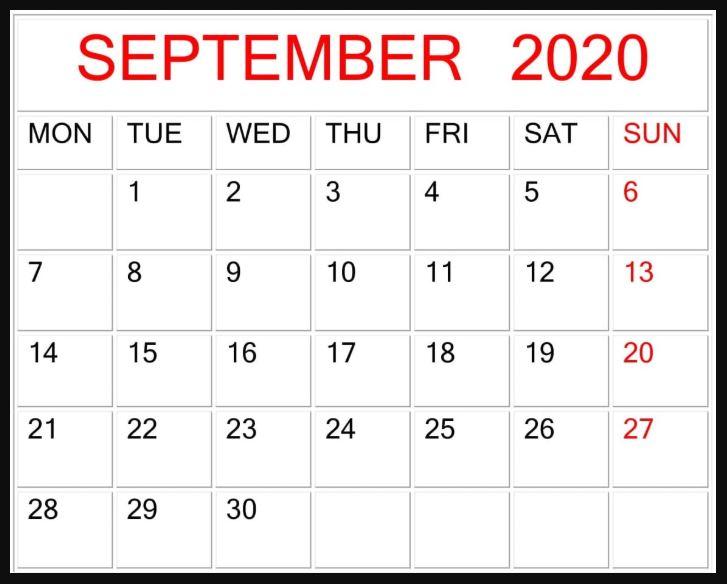 September 2020 Fillable Calendar