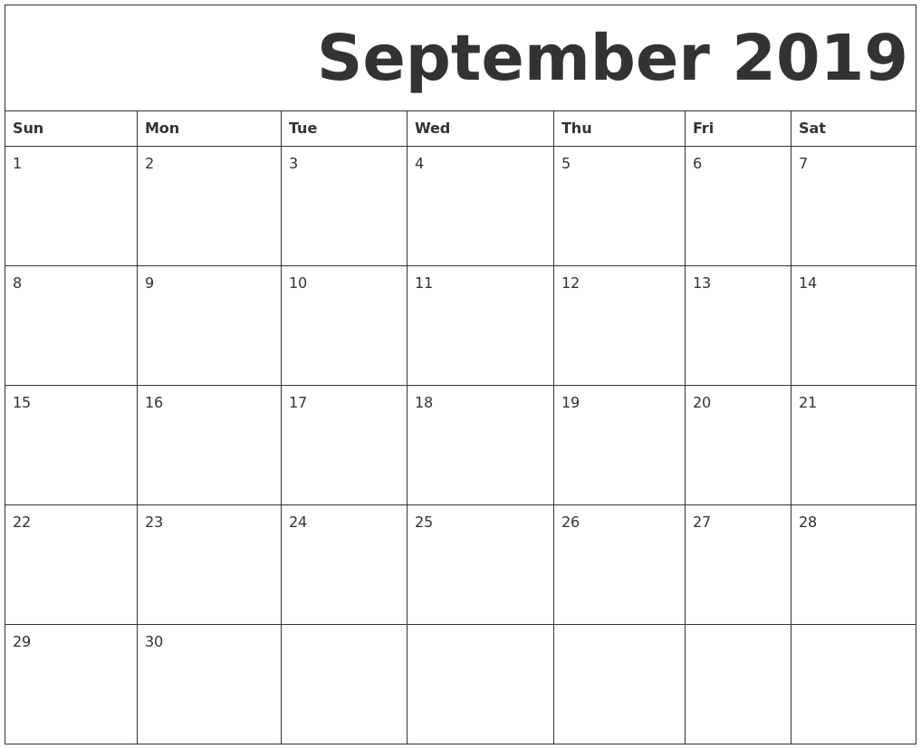 September Calendar 2019 Printable Template