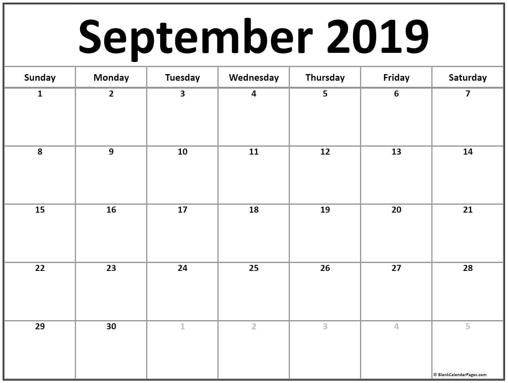 Fillable Calendar 2019 September Printable