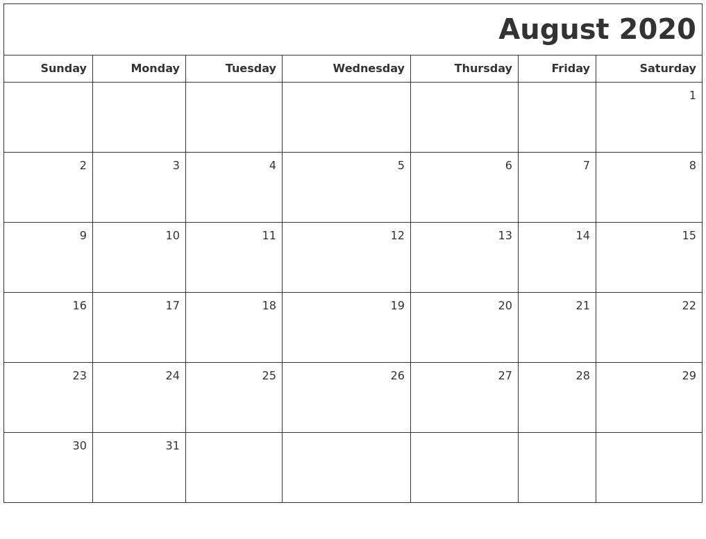 free Printable August Calendar 2020 Blank