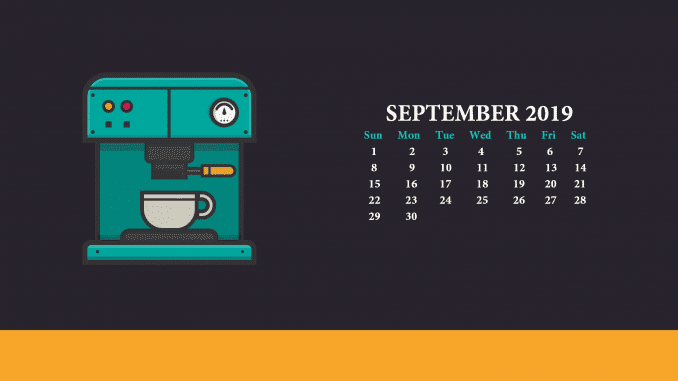 2019 Sept Calendar Wallpaper Design