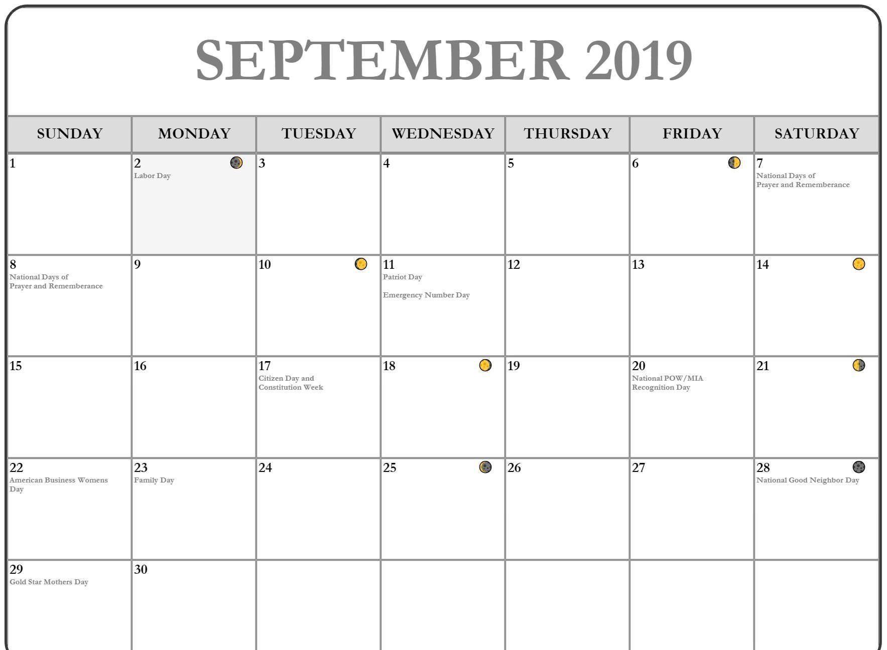 2019 September Moon Phases Calendar