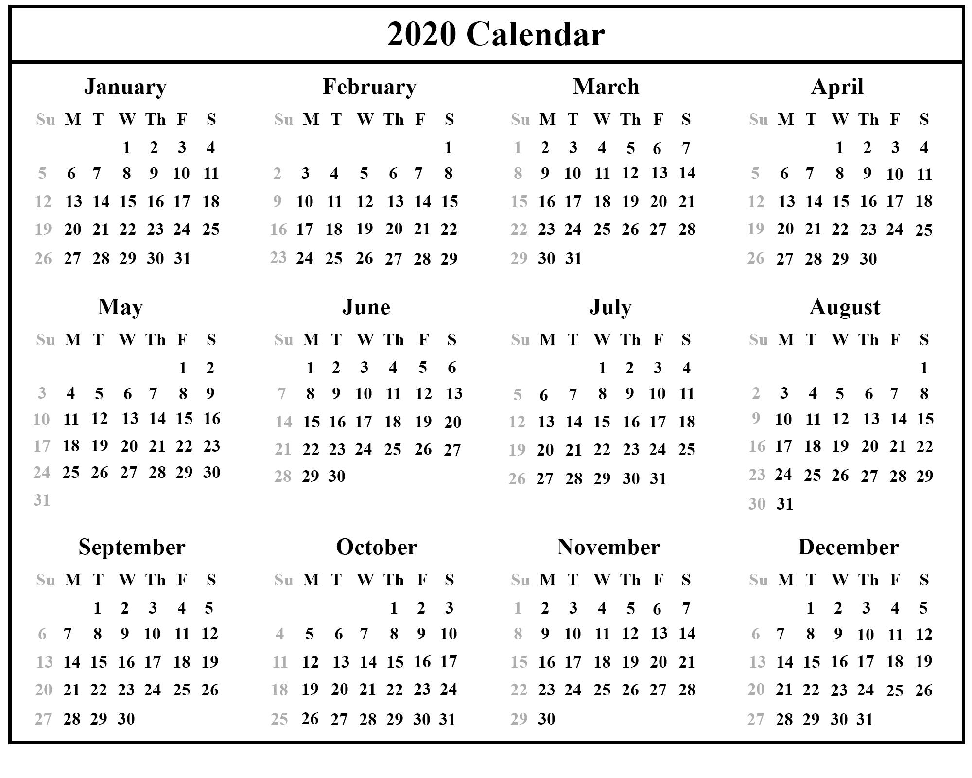 2020 Calendar Blank Template