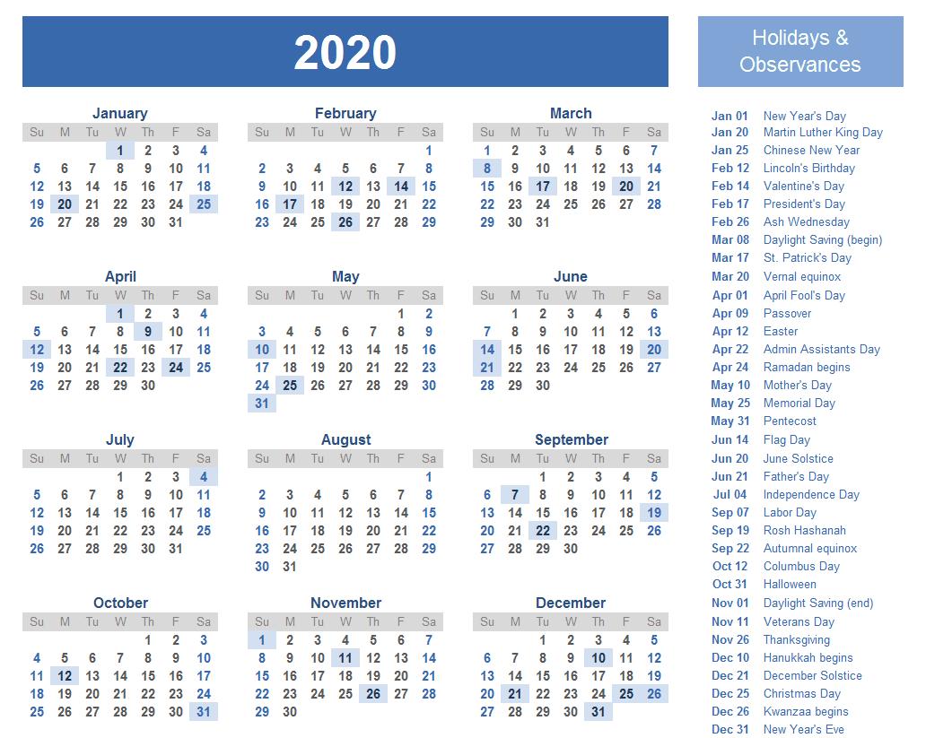 2020 Calendar Printable Template with Holidays