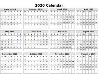 2020 Monthly Calendar Template Word