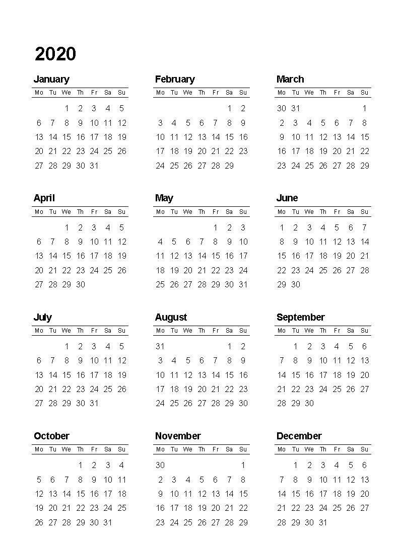 2020 Monthly Calendar Template