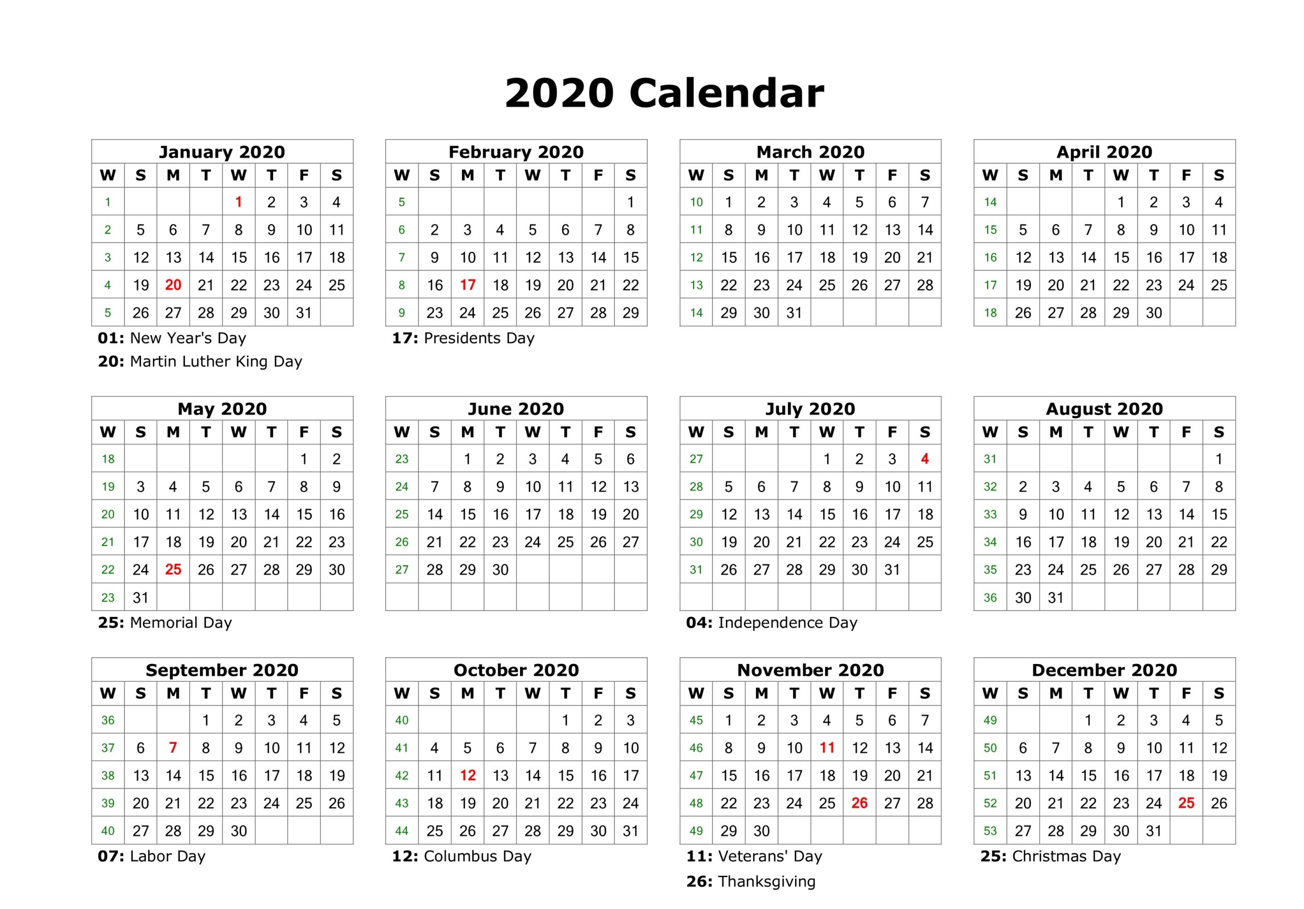 Editable 2020 Calendar Printable Template