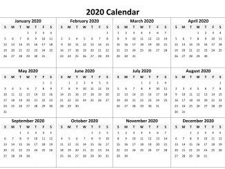 2020 Calendar Archives - Free Printable Calendar, Templates