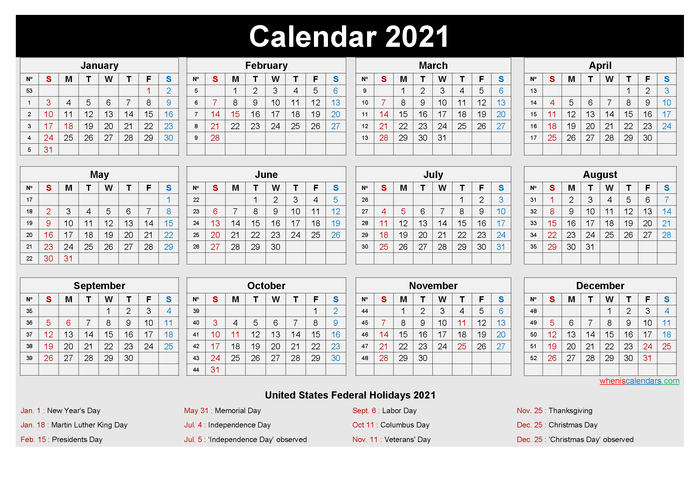 2021 Calendar Printable Template with Holidays