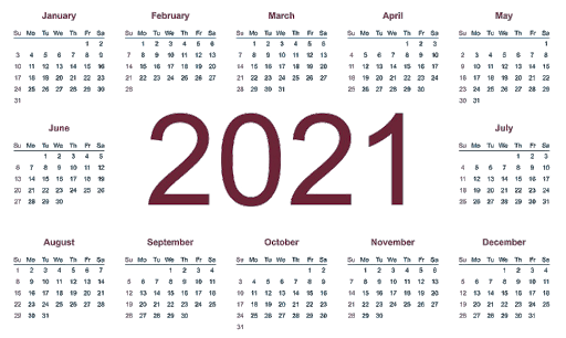 2021 Calendar Yearly Editable Template