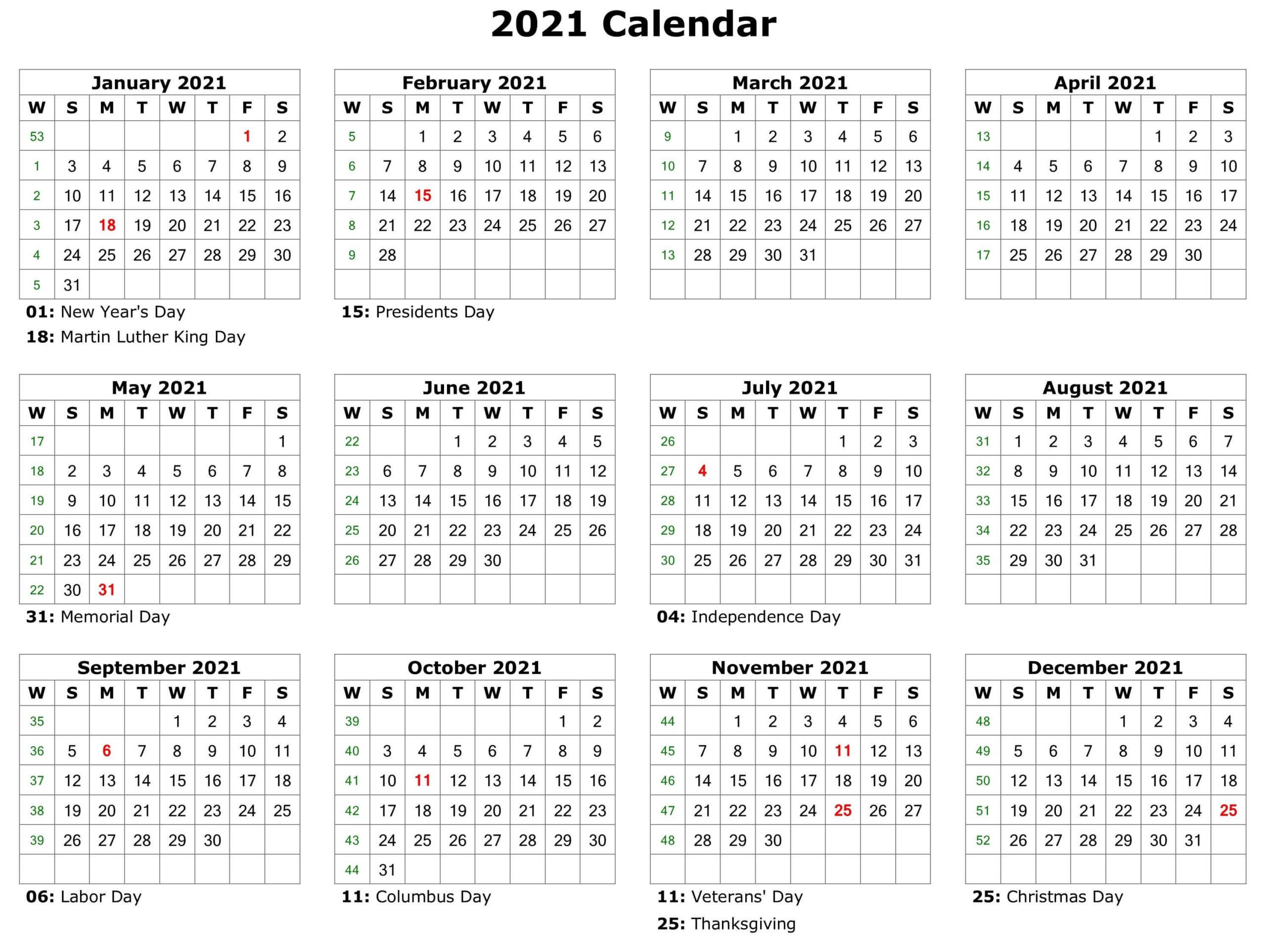 2021 Holidays Calendar