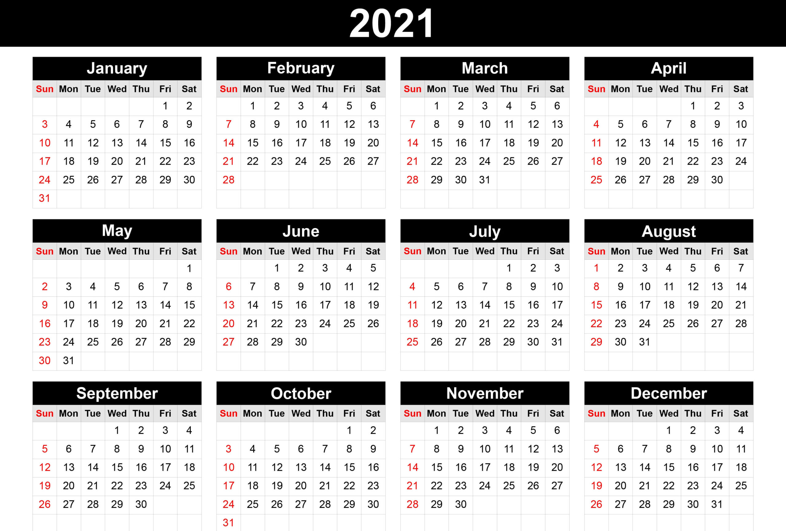 2021 Monthly Calendar Template