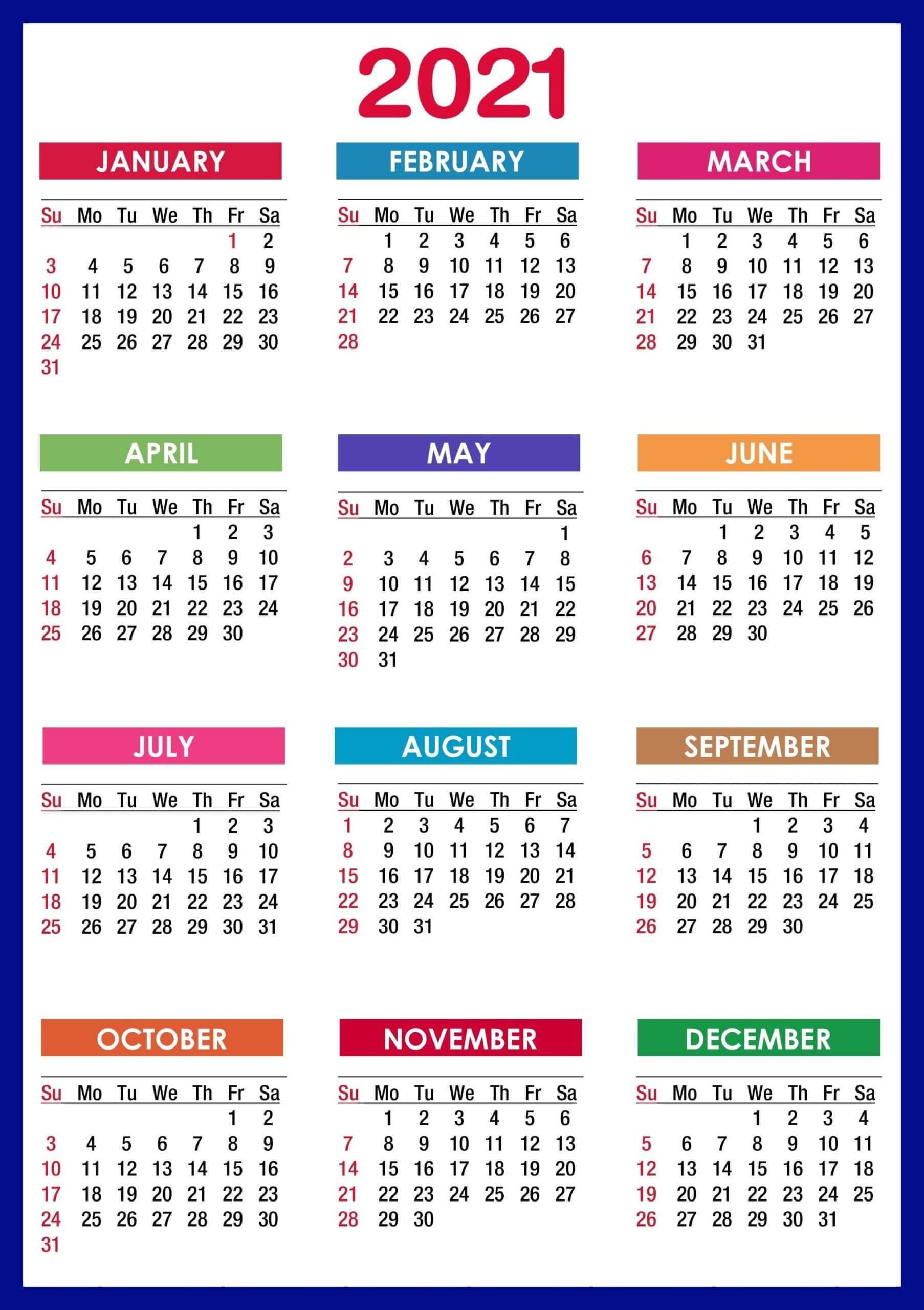 2021 Printable Calendar Template