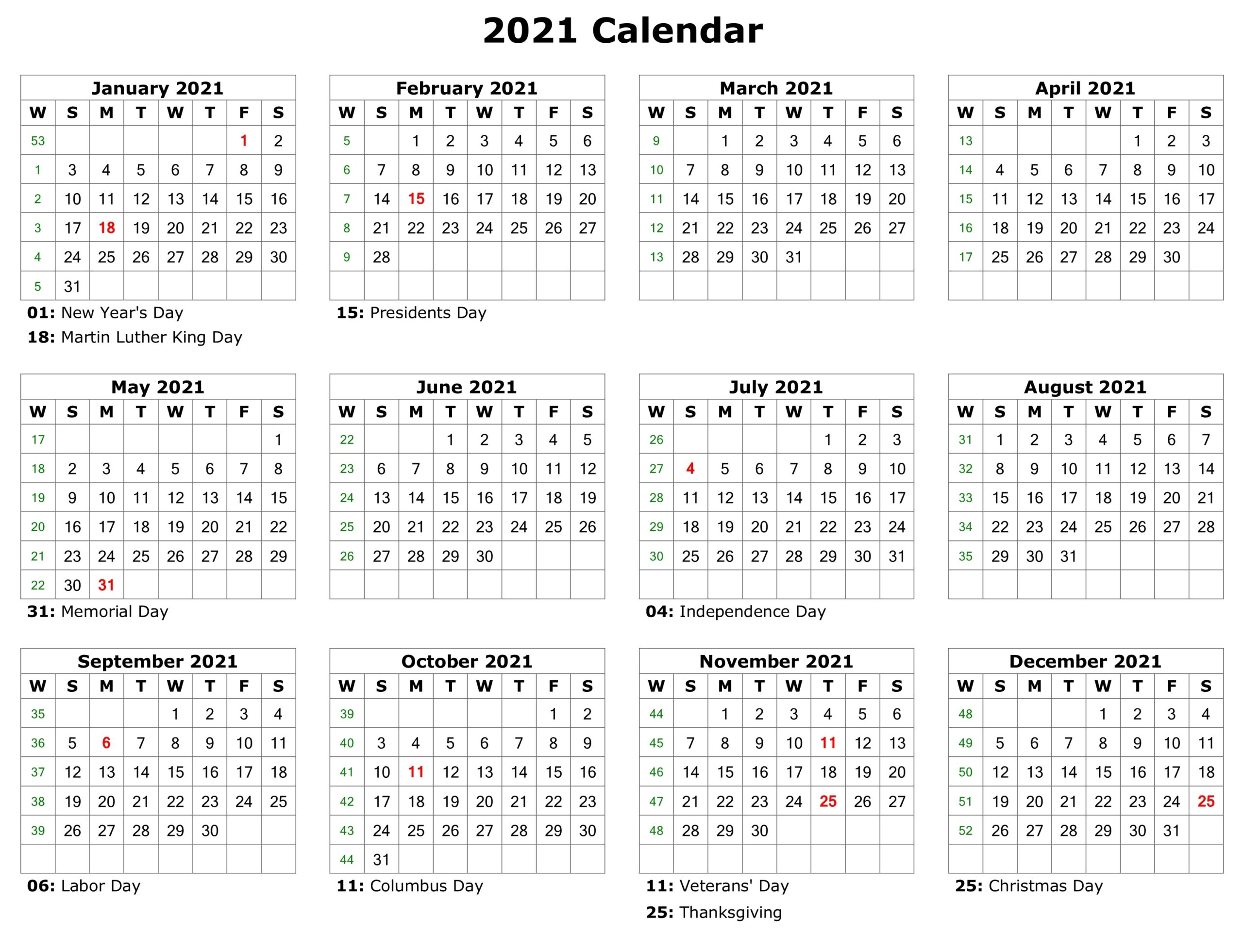 Free 2021 Printable Monthly Calendar With Holidays Word ...