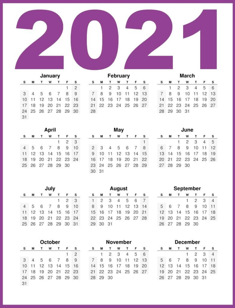 2021 Yearly 12 Month Calendar One Page