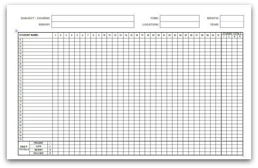 Attendance Sheet Printable Template