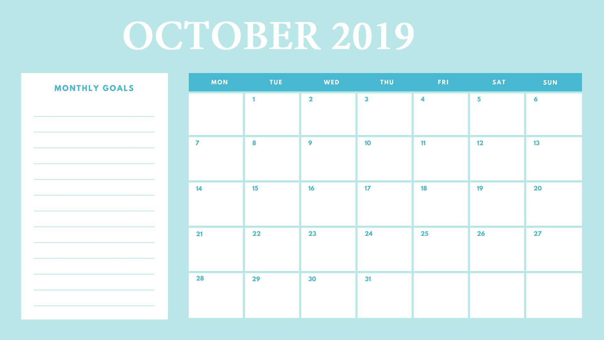 Best October 2019 Calendar Template